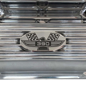 ansen custom engraving, ford fe 390 valve covers american eagle polished, logo view
