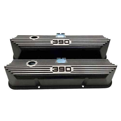 ford fe 390 valve covers, tall, finned, black, ansen usa, front view