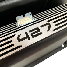 Load image into Gallery viewer, ansen valve covers, ford, fe 427, tall, laser engraved, black powder coat, close up view