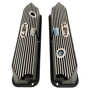 ansen valve covers, ford, fe 427, tall, laser engraved, black powder coat, top view