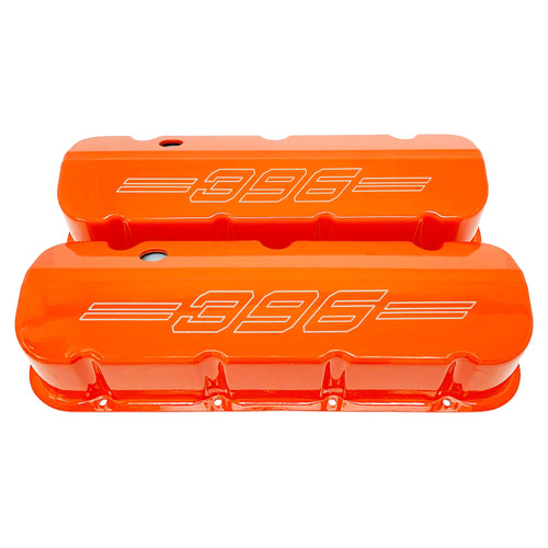 ansen custom engraving, big block chevy 396 valve covers, orange, front view