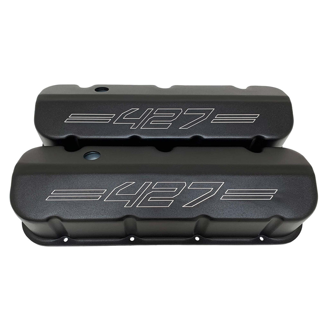 ansen custom engraving, big block chevy 427 valve covers, laser engraved, black, front view