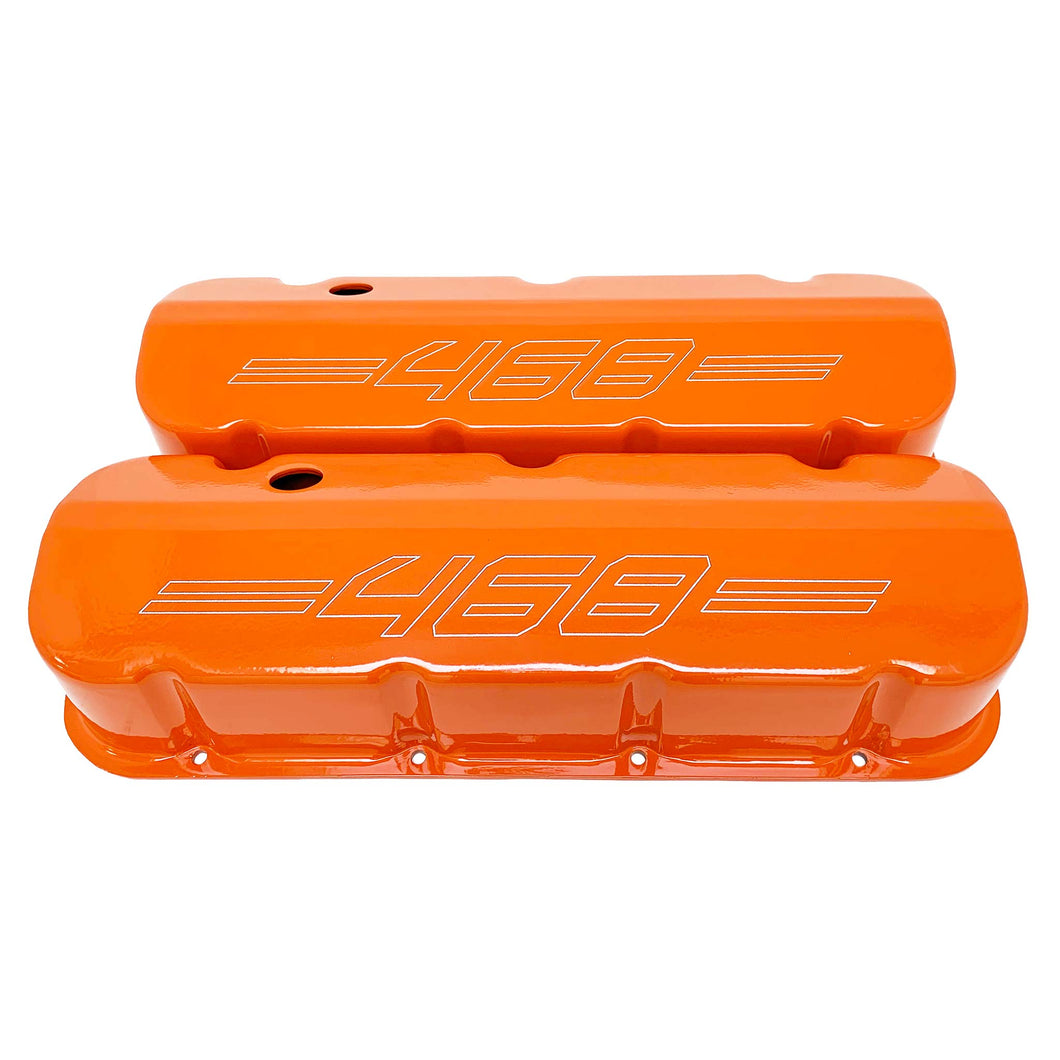 ansen custom engraving, big block chevy 468 valve covers, orange, front view