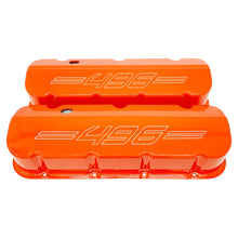 Load image into Gallery viewer, ansen custom engraving, big block chevy 496 valve covers, orange, front view