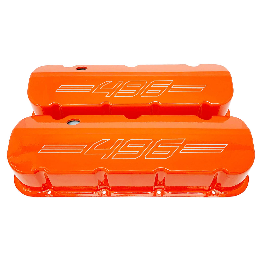 ansen custom engraving, big block chevy 496 valve covers, orange, front view