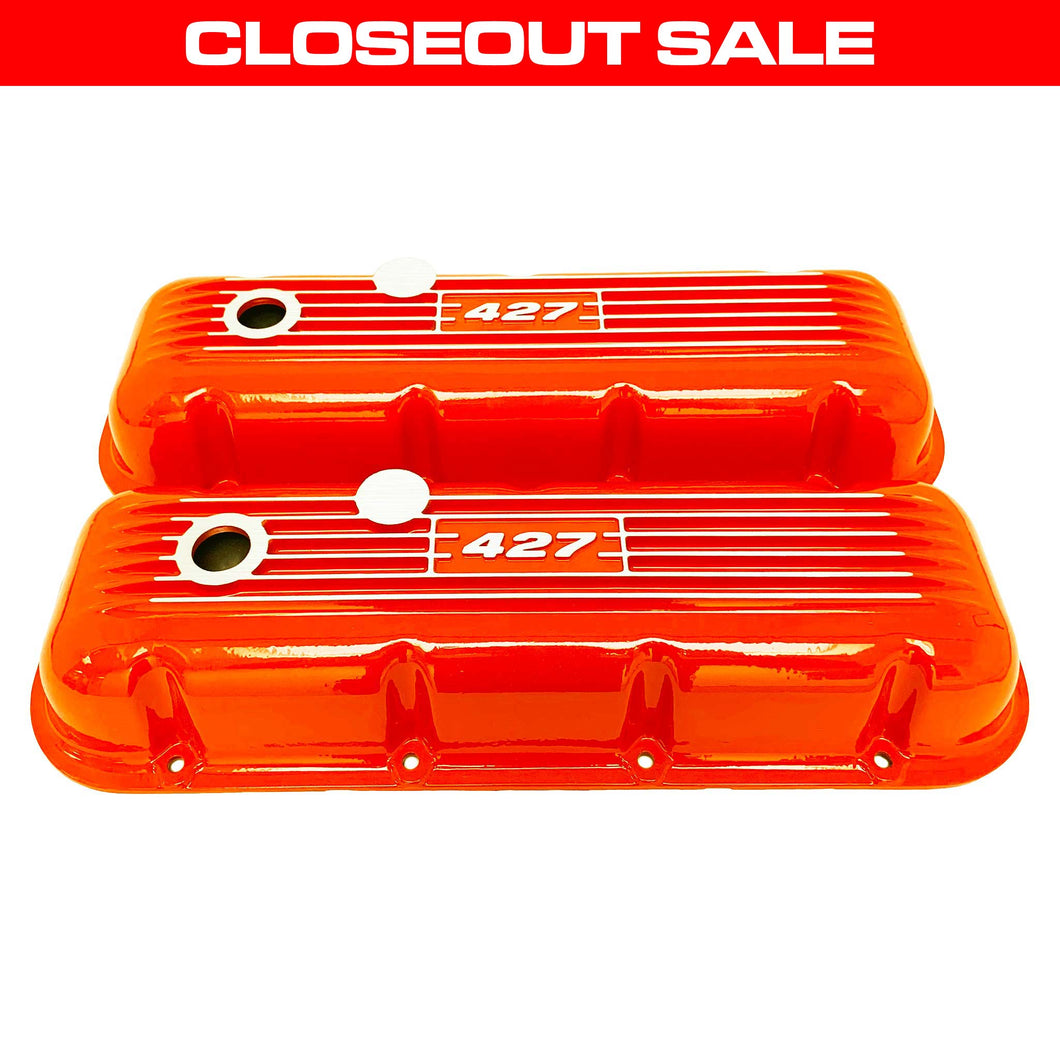 ansen custom engraving, big block chevy 427 valve covers, orange, front view
