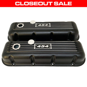 ansen custom engraving, big block chevy 454 valve covers, black, front view