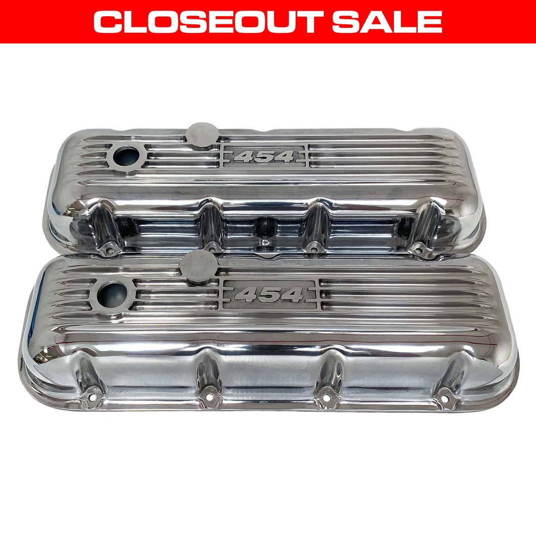 ansen custom engraving, big block chevy 454 valve covers, polished, front view