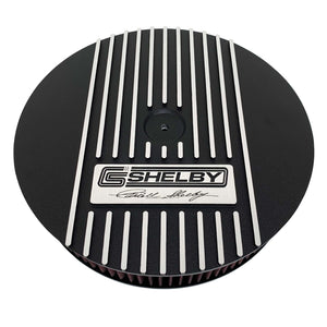 ansen custom engraving, ford carroll shelby signature air cleaner lid, black, front view