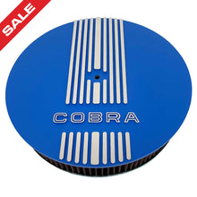 Load image into Gallery viewer, ansen custom engraving, ford shelby cobra, 13 inch, round air cleaner kit, blue, front view