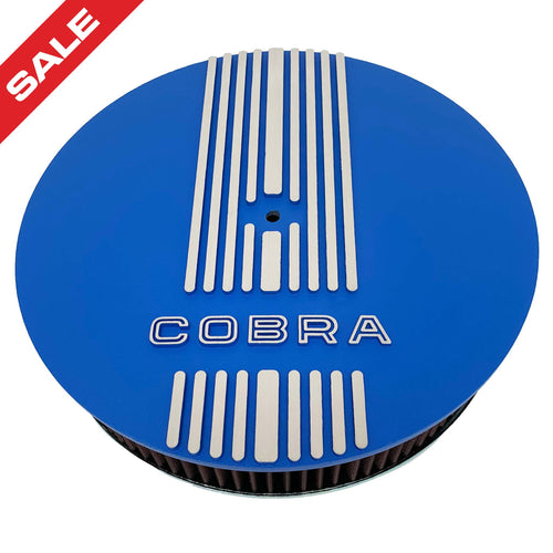 ansen custom engraving, ford shelby cobra, 13 inch, round air cleaner kit, blue, front view