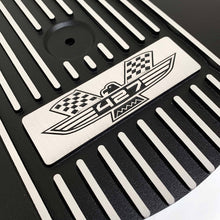 Load image into Gallery viewer, ansen custom engraving, ford fe 427 american eagle air cleaner kit 15 inch round, black, close up view