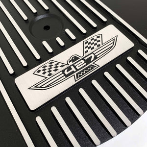 ansen custom engraving, ford fe 427 american eagle air cleaner kit 15 inch round, black, close up view