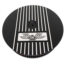 Load image into Gallery viewer, ansen custom engraving, ford fe 427 american eagle air cleaner kit 15 inch round, black, front view