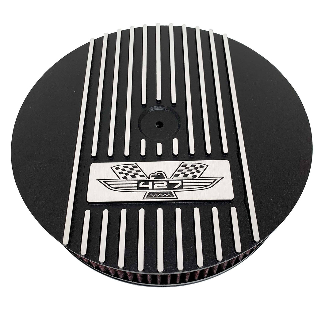 ansen custom engraving, ford fe 427 american eagle air cleaner kit 15 inch round, black, front view