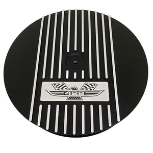 ansen custom engraving, ford fe 428 american eagle air cleaner kit 15 inch round, black, front view