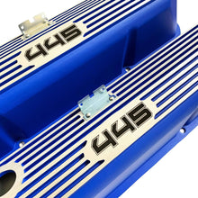 Load image into Gallery viewer, ansen custom engraving, ford fe 445 valve covers, tall, finned, blue, close up view