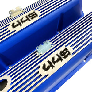 ansen custom engraving, ford fe 445 valve covers, tall, finned, blue, close up view