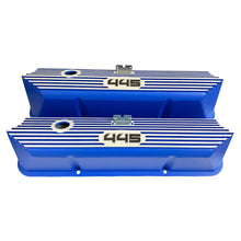 Load image into Gallery viewer, ansen custom engraving, ford fe 445 valve covers, tall, finned, blue, front view