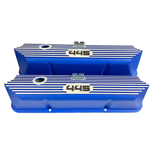 ansen custom engraving, ford fe 445 valve covers, tall, finned, blue, front view