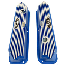 Load image into Gallery viewer, ford fe logo all fins valve covers, blue, ansen usa, top view