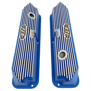 ford fe logo all fins valve covers, blue, ansen usa, top view