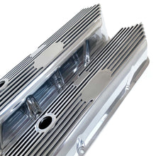 Load image into Gallery viewer, ansen custom engraving, ford fe tall custom valve covers, all polished finish, angled view