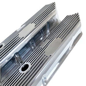 ansen custom engraving, ford fe tall custom valve covers, all polished finish, angled view