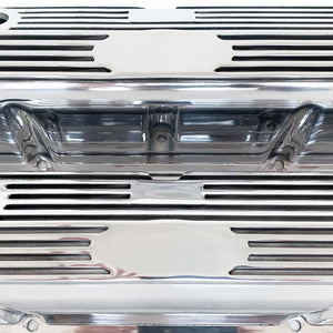 ansen custom engraving, ford fe tall custom valve covers, all polished finish, close up view