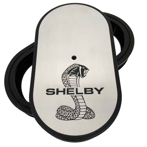 ansen custom engraving, ford shelby cobra air cleaner kit 15 inch oval, front view