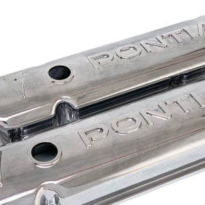 ansen valve covers, pontiac, raised letter logo, polished finish, angled view