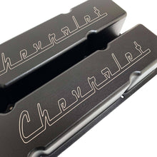 Load image into Gallery viewer, small block chevy valve covers, classic chevrolet logo, ansen usa, black, close up view