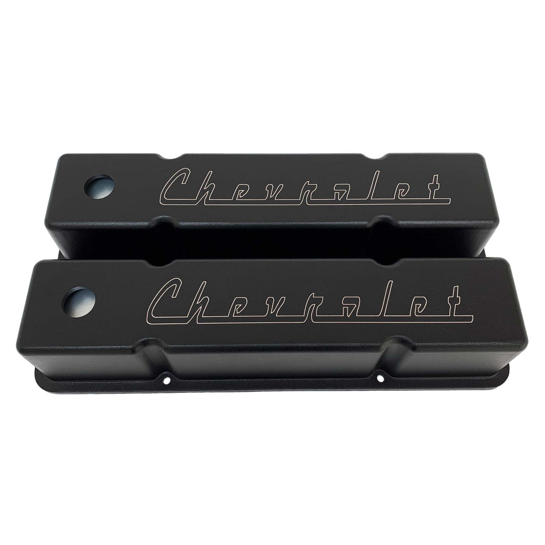small block chevy valve covers, classic chevrolet logo, ansen usa, black, front view
