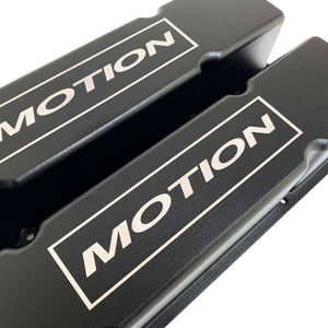 ansen custom engraving, small block chevy motion valve covers, tall, black, close up view