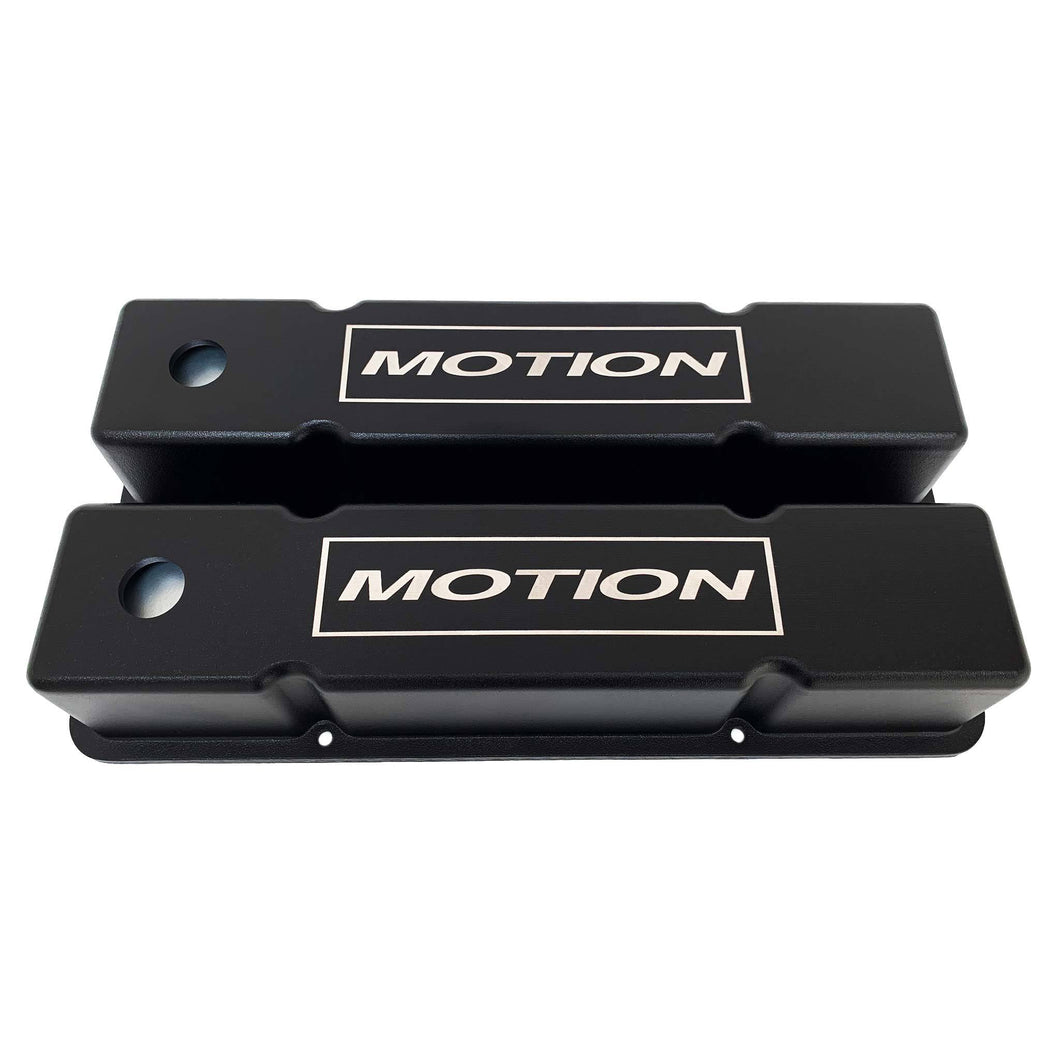 ansen custom engraving, small block chevy motion valve covers, tall, black, front view