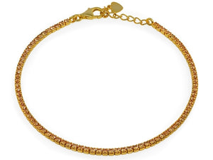 Mini Champagne CZ Tennis Bracelet  Gold Plated