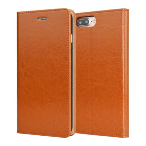 Orange Leather iPhone Wallet Case