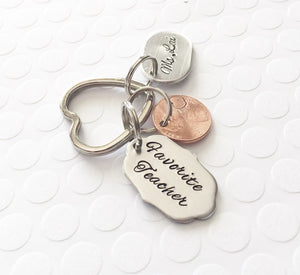 Teacher gift - Hand stamped keychain - Teacher