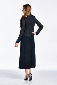 Women's Long Sleeve Cardigan with Sleeveless Maxi