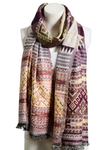 Load image into Gallery viewer, Woven Purple Mix Tribal Print Frayed Long Scarf