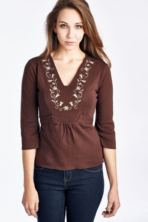 Women's Floral Embroidered V-Neck Tie Back Top