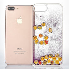 Load image into Gallery viewer, Purple Glitter Sand Emoji iPhone Case
