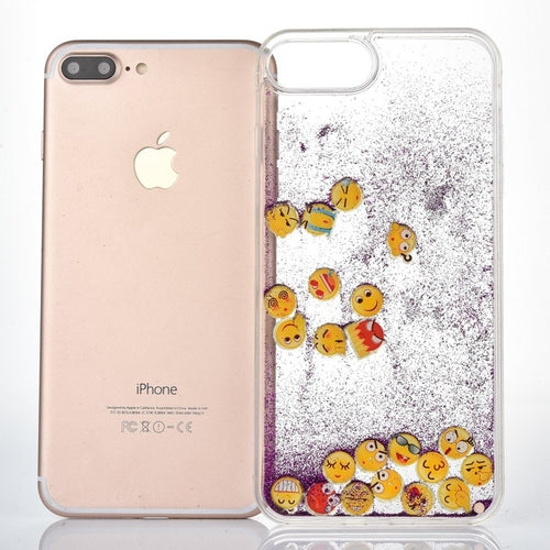 Purple Glitter Sand Emoji iPhone Case