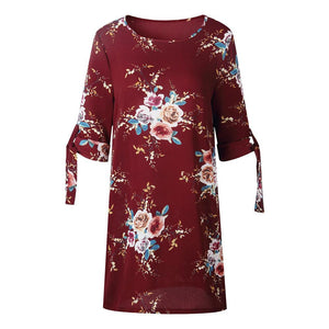 Summer Floral Women Dress Plus Size Female Flower