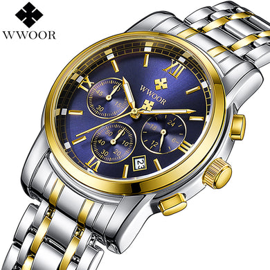 2018 WWOOR Men Chronograph Business Quartz Watch Mens Watches