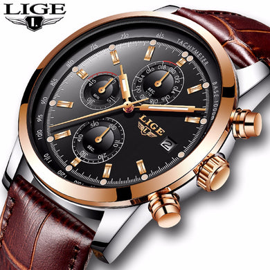 2018New LIGE Mens Watches Top Brand Luxury Leather Quartz Watch men