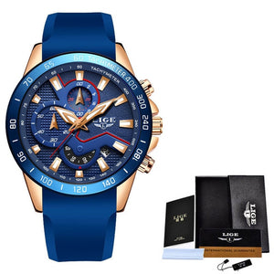 2019 Fashion Blue Watches Mens Top Luxury Brand LIGE Military Waterproof Quartz Gold Clock Man Chronograph Relogio Masculino+Box