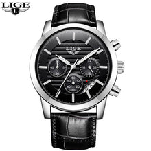 Load image into Gallery viewer, 2019 LIGE Mens Watches Military Sport Watch Men Top Brand Luxury Leather Chronograph Waterproof Quartz Clock Relogio Masculino