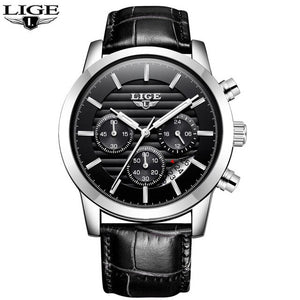 2019 LIGE Mens Watches Military Sport Watch Men Top Brand Luxury Leather Chronograph Waterproof Quartz Clock Relogio Masculino