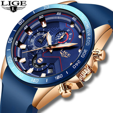 2019 LIGE New Mens Watches Fashion Blue Sport Watch Top Brand Luxury Clock Men Waterproof Quartz Wristwatch Relogio Masculino